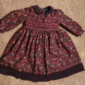 Girls Heirloom Lands End Christmas Smocked Dress